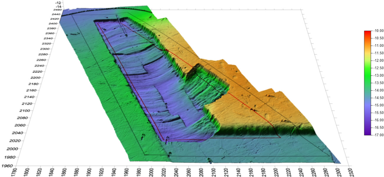 浚渫工施工中の俯瞰図(ナローマルチビーム測量結果)